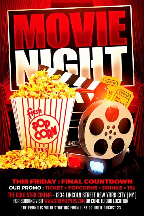 Movie Night Flyer Template Xtremeflyers