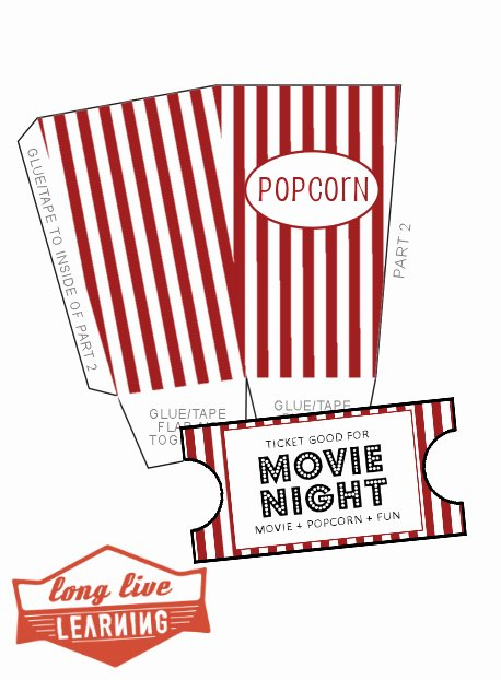 Movie Night Pack Popcorn Box Movie Tickets – Happy