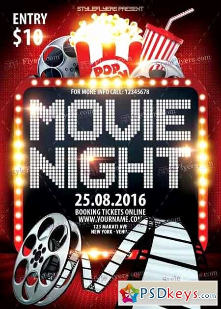 Movie Night Psd Flyer Template Free Download Shop