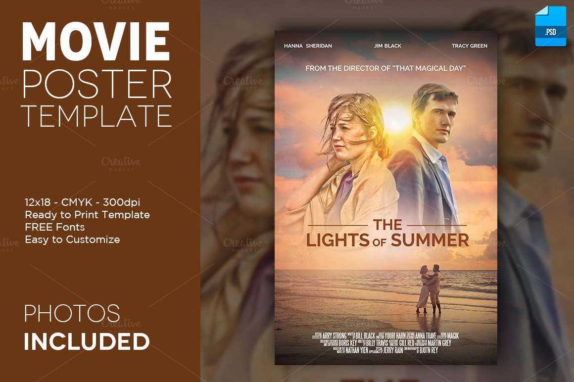 Movie Poster Print Template 1 12x18 Flyer Templates On