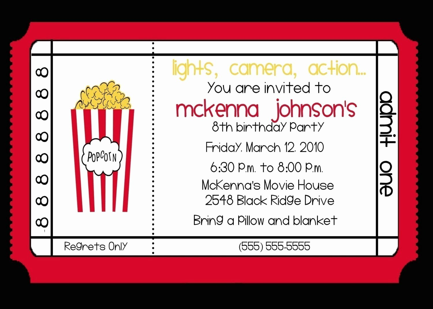 Movie theater Birthday Party Invitation by Nattysuedesigns1