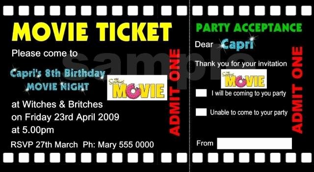 Movie Ticket Birthday Invitations Ideas – Bagvania Free