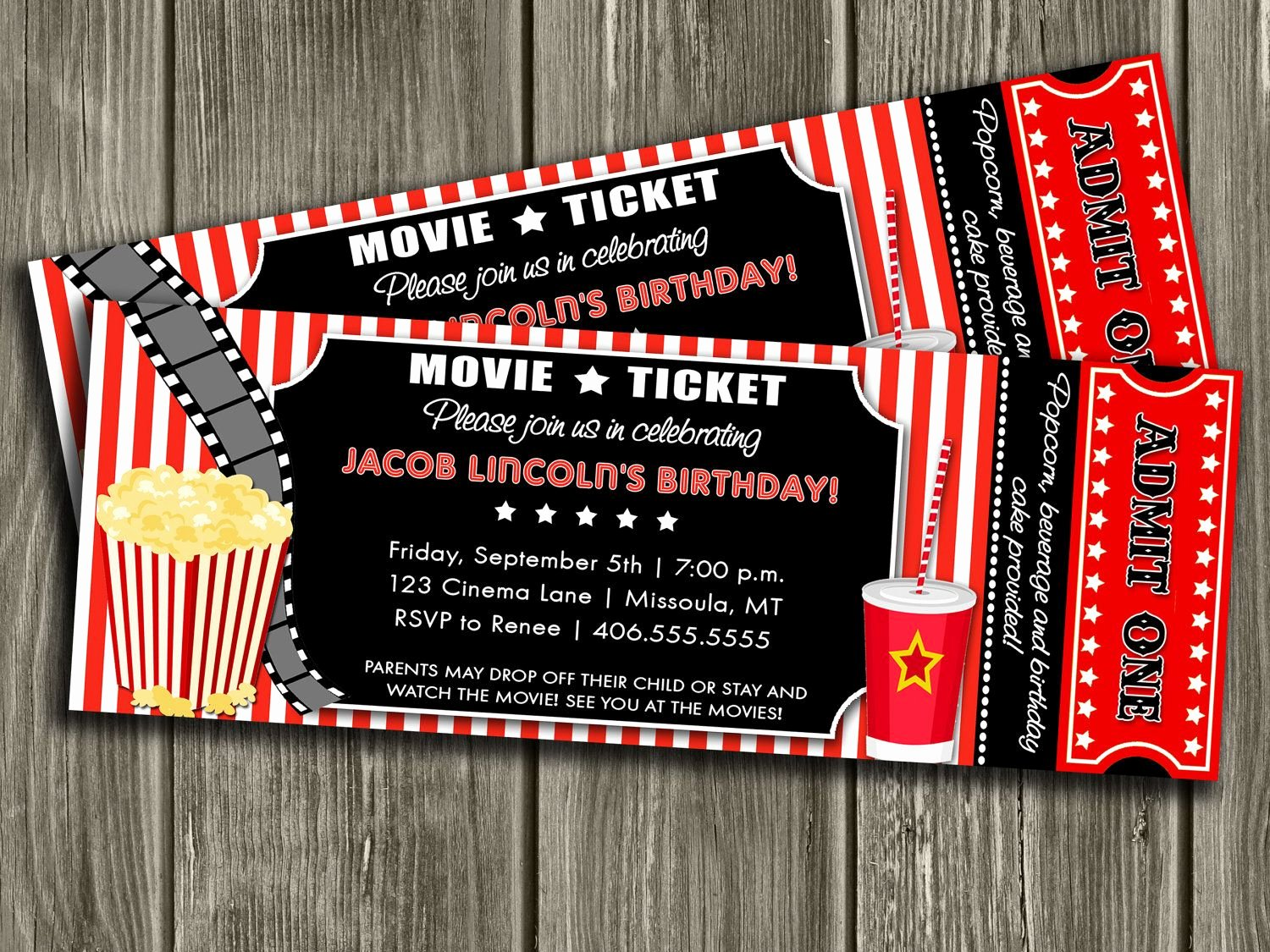 Movie Ticket Invitation Free Thank You Card Included