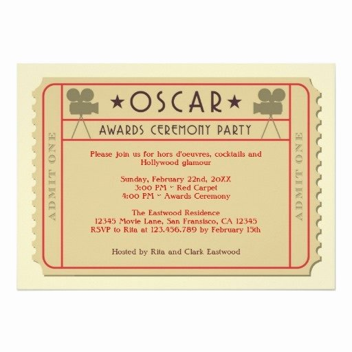 Movie Ticket Oscar Award Ceremony Party Invitation Latter Example