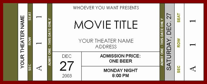 Movie Ticket Template Wildlifetrackingsouthwest