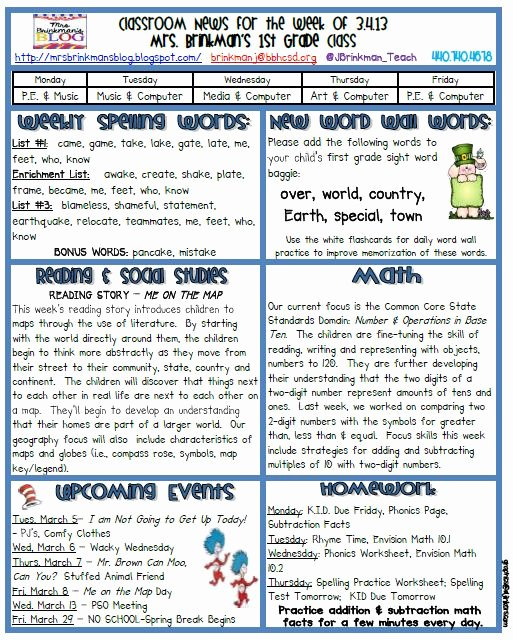 march 4 2013 classroom newsletter
