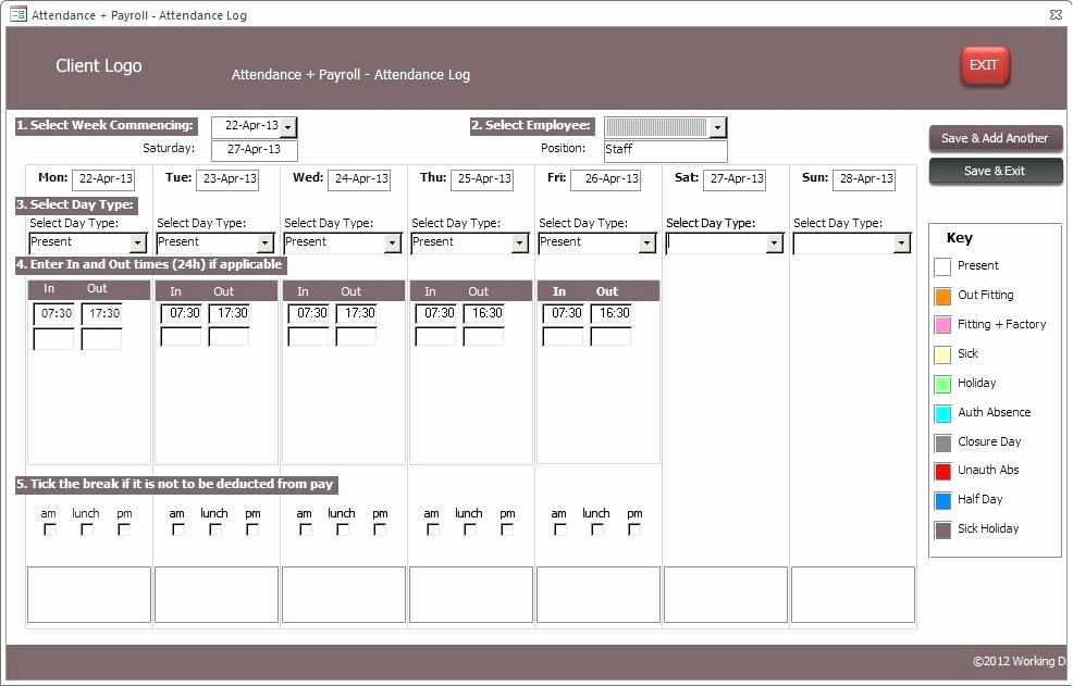 Ms Access 2010 Timesheet Database Template Sample