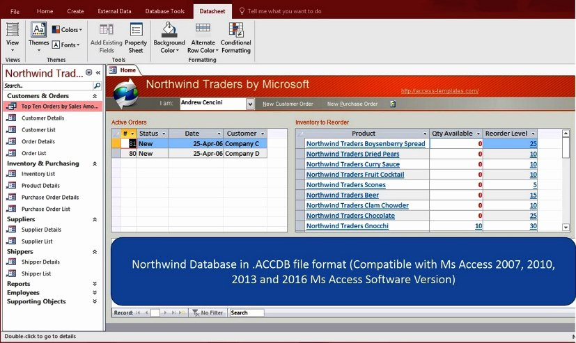 Ms Access northwind Database for Microsoft Access 2016