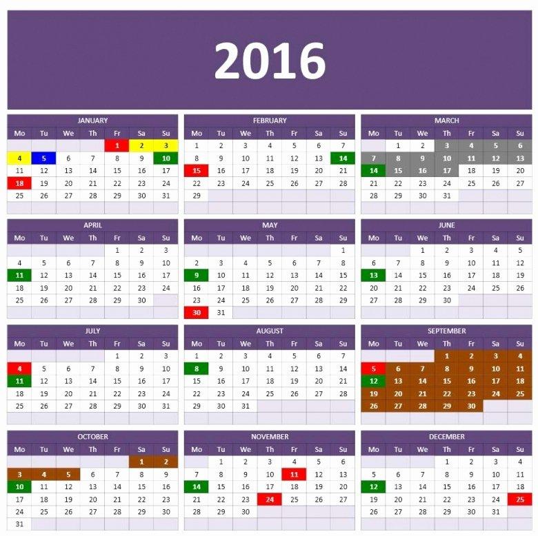 Ms Excel 2016 Calendar Free Calendar Template