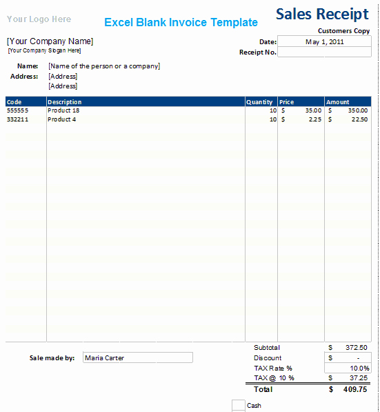 Ms Excel Blank Invoice Template Xls Microsoft Excel