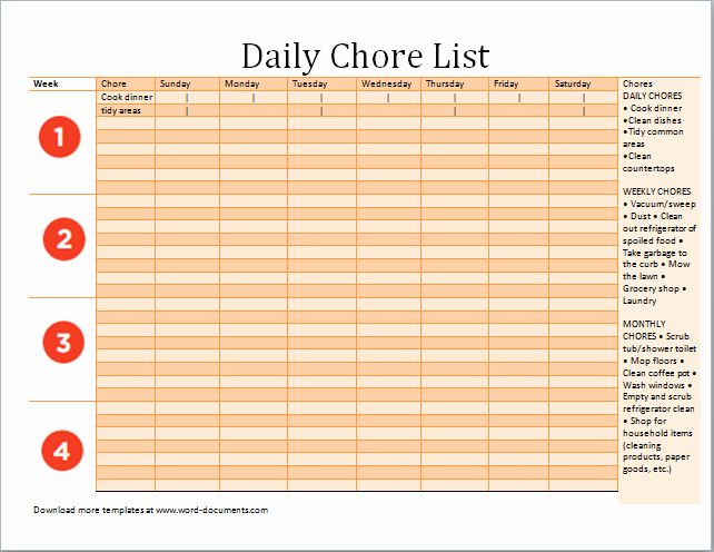 Ms Excel Daily Chore List Template