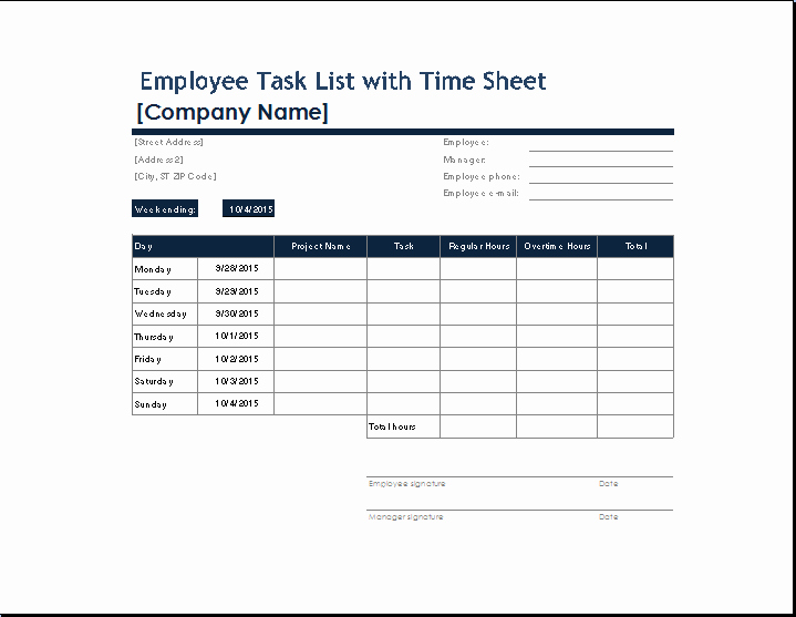 Ms Excel Employee Task List with Time Sheet