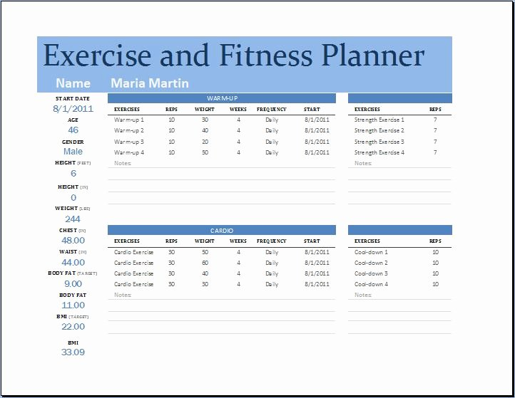 Ms Excel Exercise and Fitness Planner Template