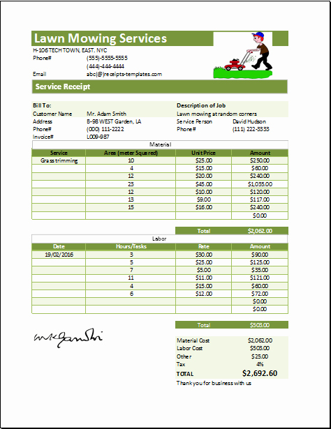 Ms Excel Printable Lawn Mowing Receipt Template
