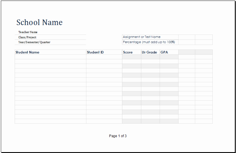 Ms Excel Printable Student Grade Book Template