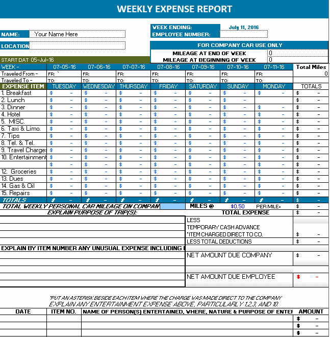 Ms Excel Weekly Expense Report