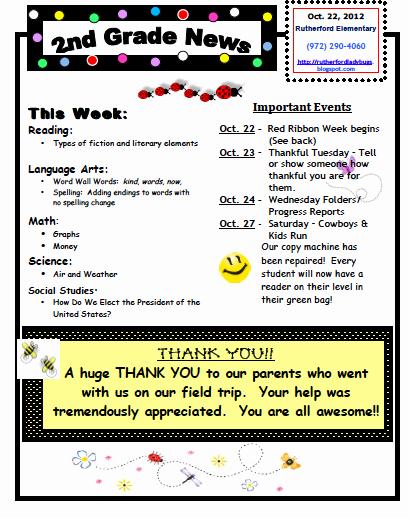 Ms Houser S Wonderful World Of 2nd Grade Weekly Newsletter