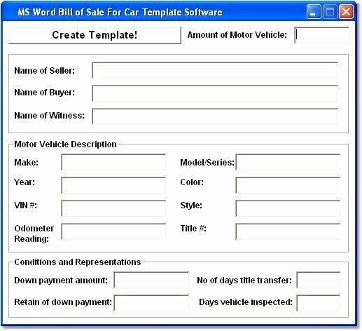 Ms Word Bill Of Sale for Car Template so