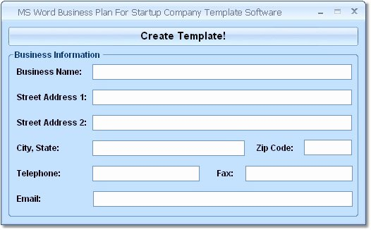 Ms Word Business Plan for Startup Pany Template