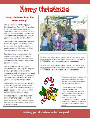 Ms Word Christmas Newsletter Template Candy Cane Design