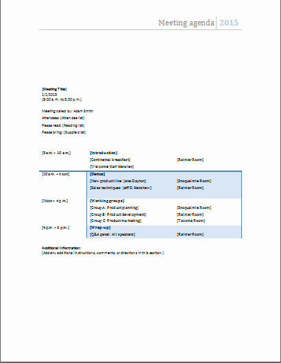 Ms Word Ficial Meeting Agenda Templates