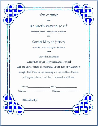 Ms Word formal Marriage Certificate Template