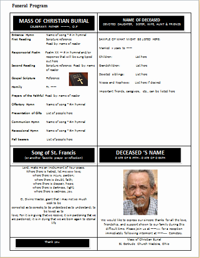 Ms Word Funeral Detail Program Template