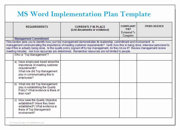 Ms Word Implementation Plan Template – Microsoft Word