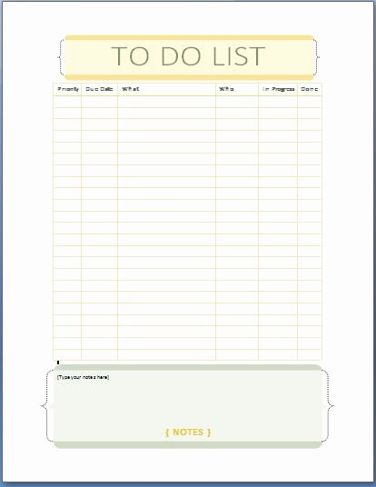 Ms Word Personal Tasks to Do List Template