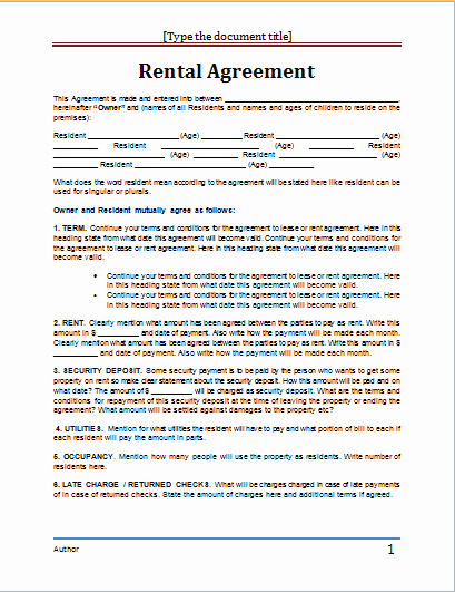 Ms Word Rental Agreement Template