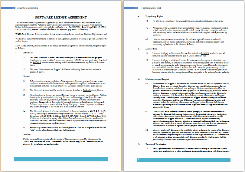 Ms Word software License Agreement Template