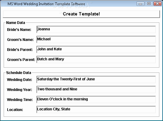 Ms Word Wedding Invitation Template software Download