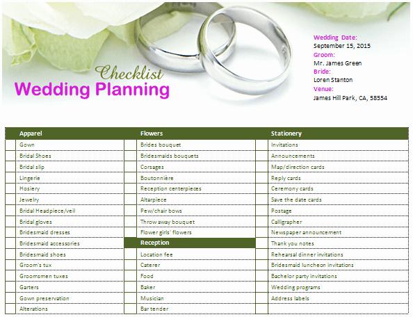 Ms Word Wedding Planning Checklist