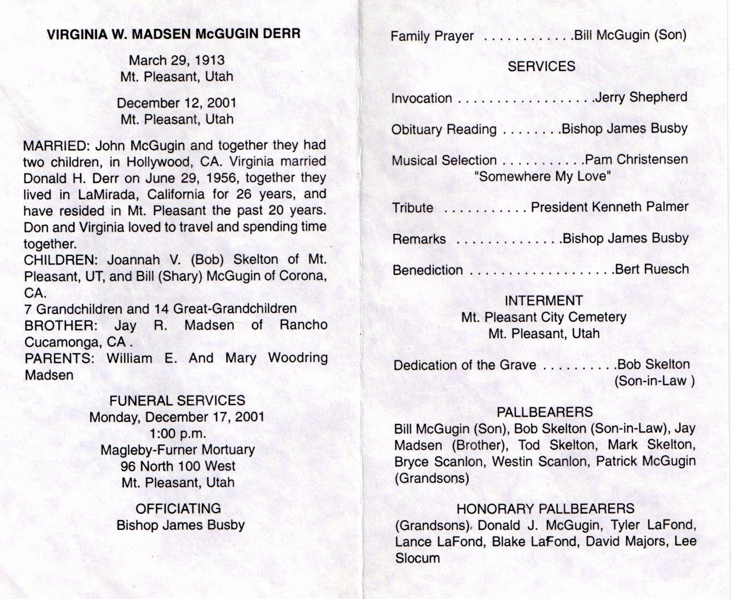 Mt Pleasant Obituary Page Virginia Madsen Mcgugin Derr