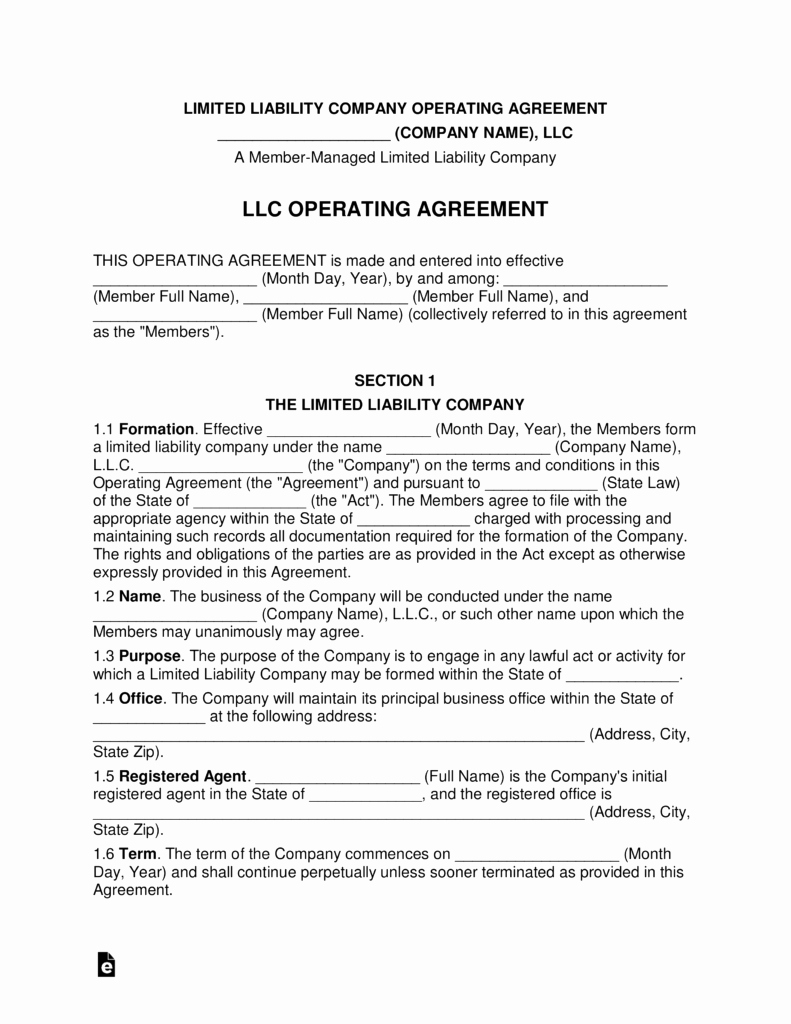 Multi Member Llc Operating Agreement Template