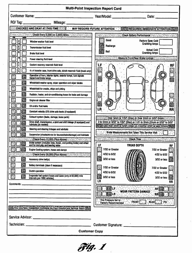 Multi Point Inspection Report Card as Re Mended by ford