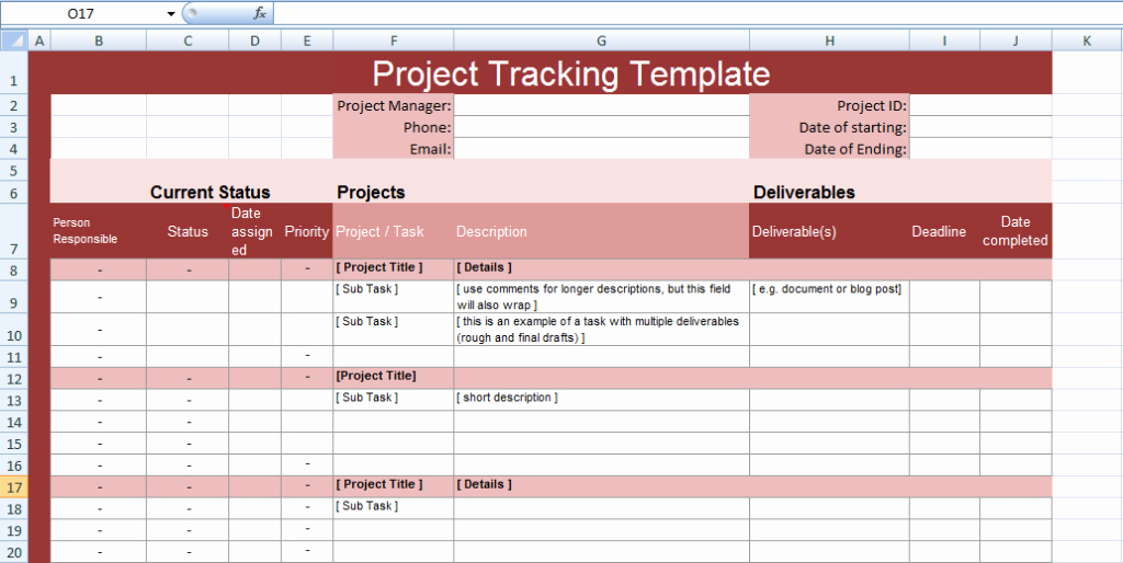 Multiple Project Tracking Templates for Excel