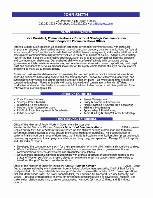 Munication Director Resume Sample & Template