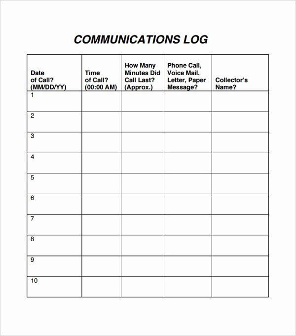 Munication Log Template – 8 Free Word Pdf Documents