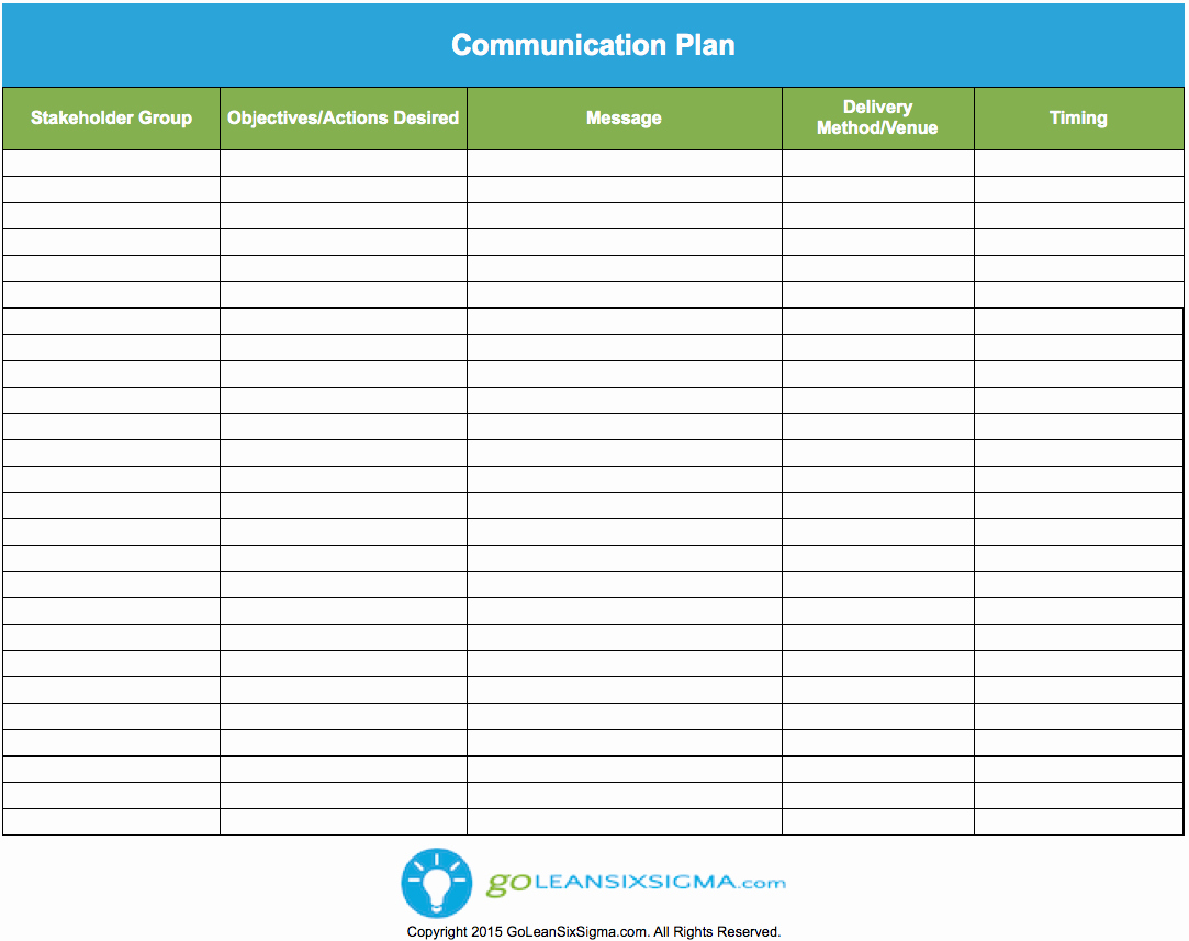 Munication Plan Template Goleansixsigma