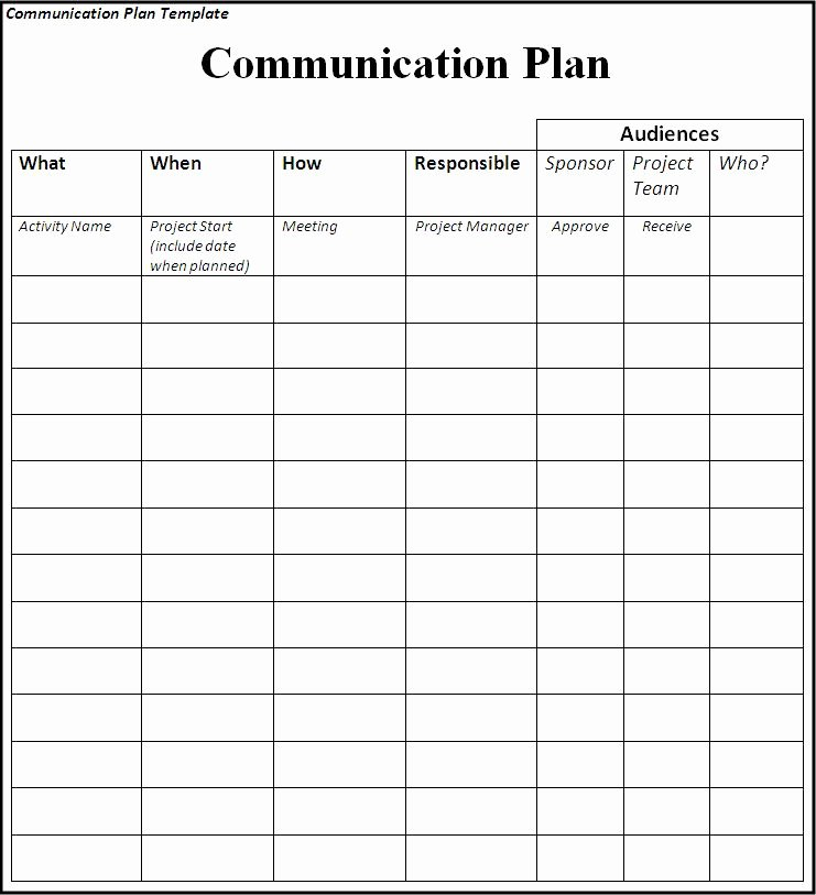 Munication Plan Template