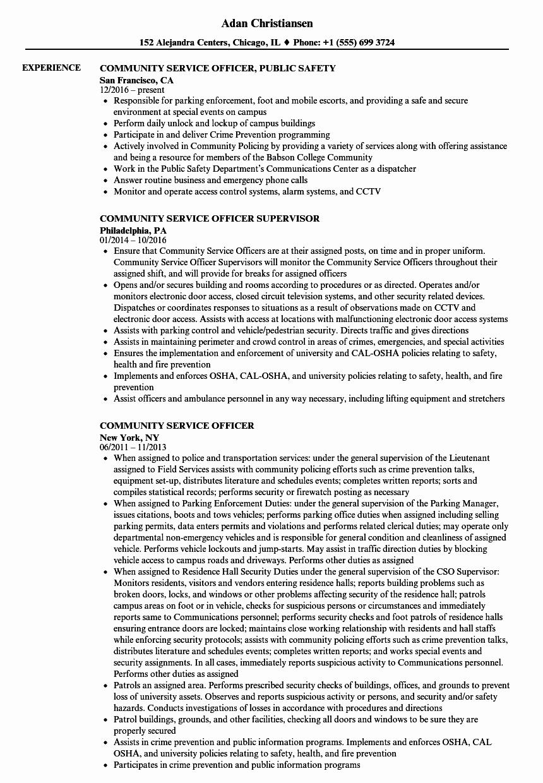 Munity Service Ficer Resume Samples
