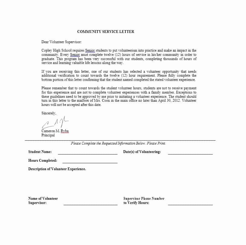 Munity Service Letter 40 Templates [ Pletion