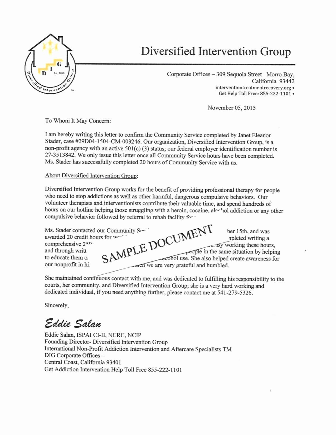 Munity Service Letterhead Sample