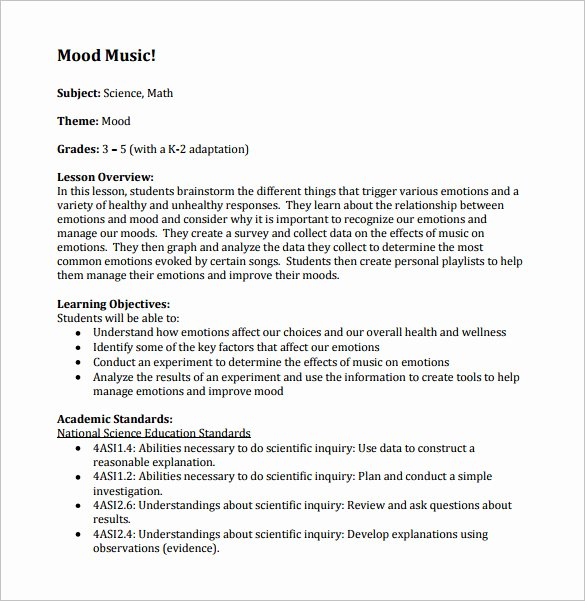 Music Lesson Plan Template 6 Free Sample Example