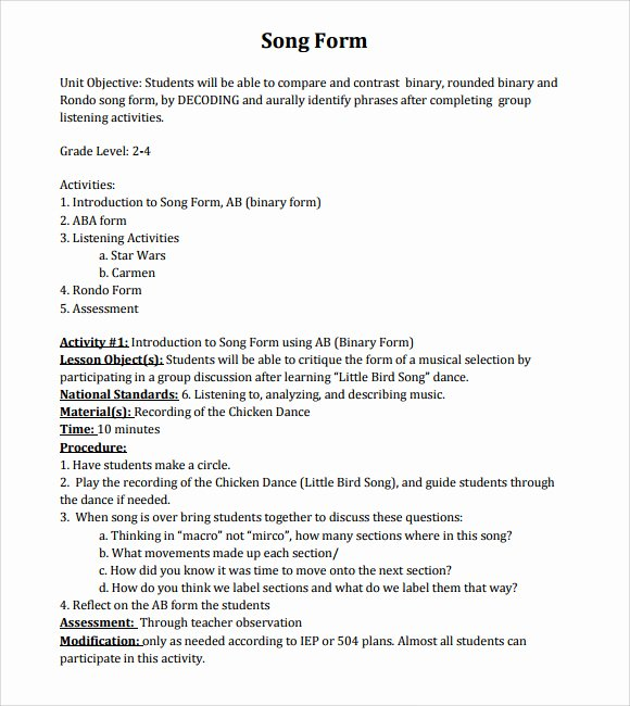 Music Lesson Plan Template 9 Download Free Documents In