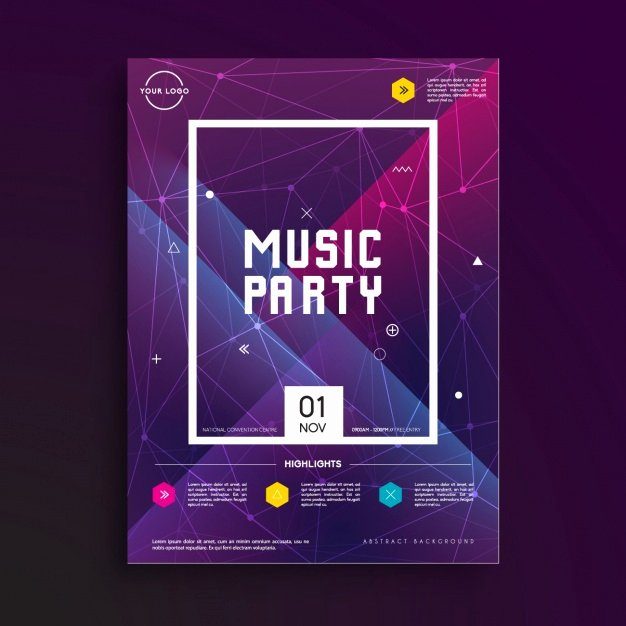 Music Party Poster Template Vector