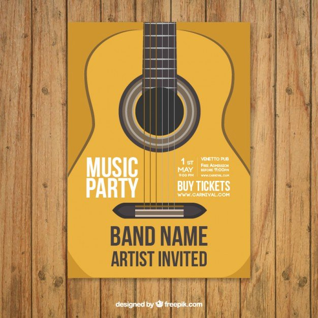 Music Party Poster Template with Guitar Vector