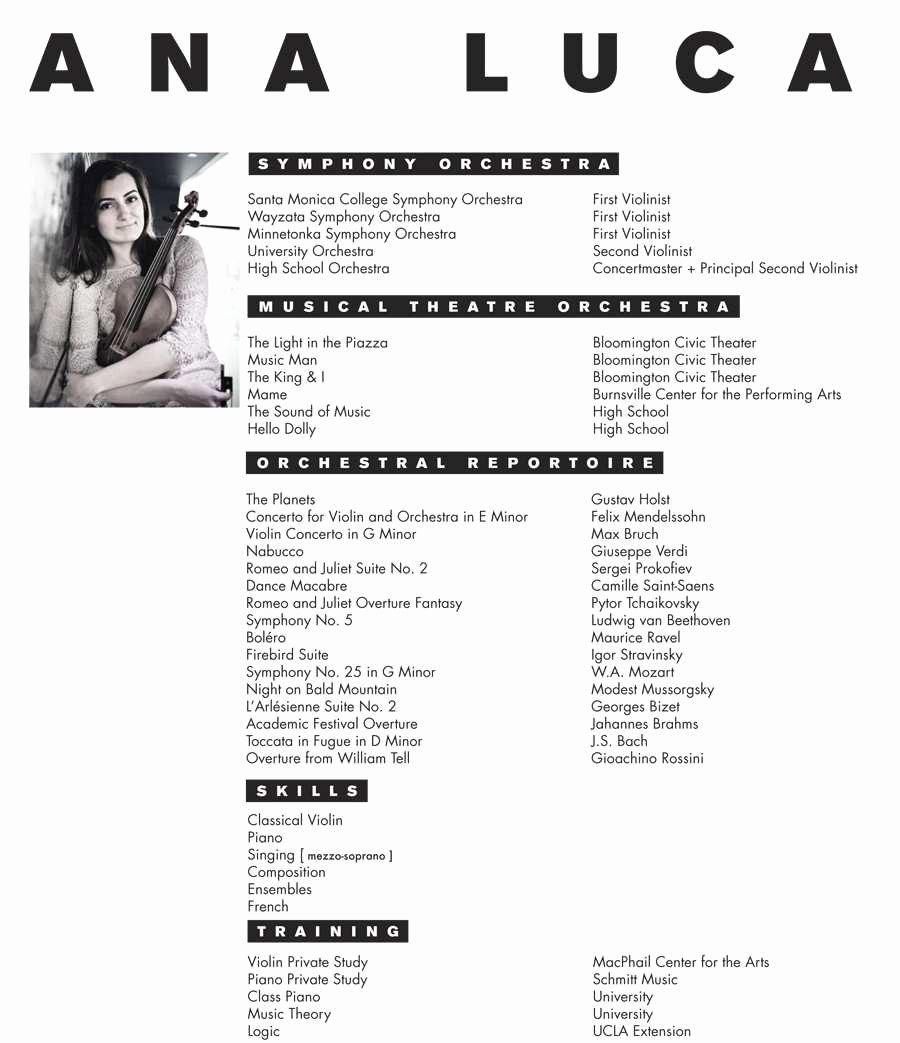 Music Resume for College Applications Ideal Music Resume