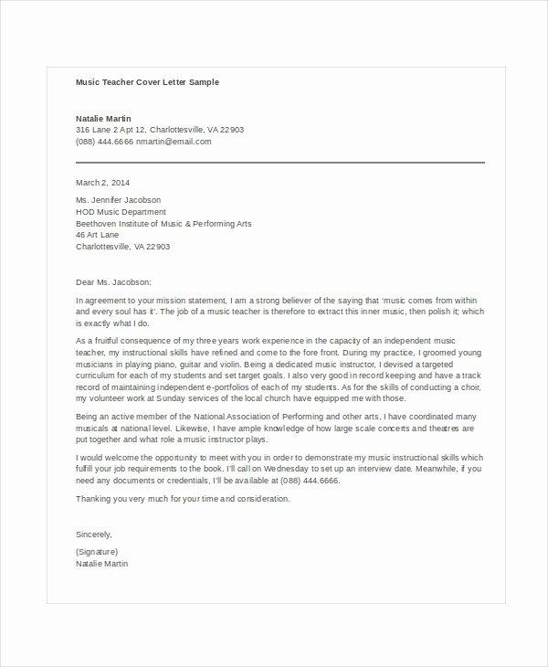 Music Teacher Cover Letter Letter Of Re Mendation